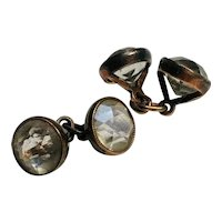 Rock crystal cufflink sleeve cuff buttons 875 Silver Poland