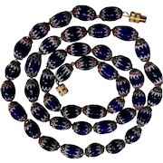 Chevron glass bead necklace red white blue