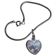 Forstner sterling silver heart slider charm bracelet snake chain