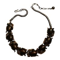 Trifari plastic cabochon insert choker necklace brown