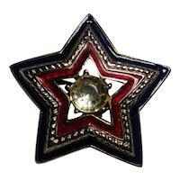 Trifari star pin red white blue enamel rhinestone