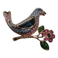 Swarovski blue bird on a flower pin