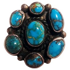 Mark Chee Navajo turquoise satellite cluster sterling silver ring
