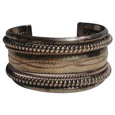Southwest sterling silver cuff bracelet seven row 62 grams