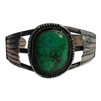 Southwest sterling silver turquoise stone cuff bracelet