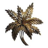Trifari pin feather or leaf fern fronds