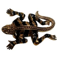 MMA Egyptian revival lizard pin black enamel stripes 1993