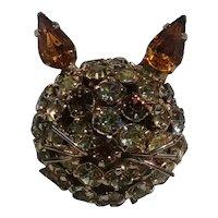 Warner rhinestone cat head pin wire whiskers  yellow