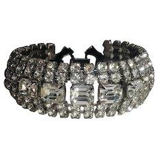 Weiss wide rhinestone bracelet six row silver tone