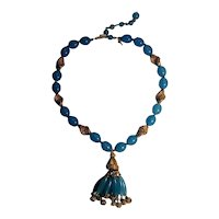Trifari  Suspended animation blue jelly lucite bead tassel necklace