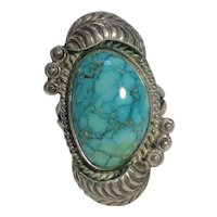 Southwest turquoise sterling silver  ring feather rain drop