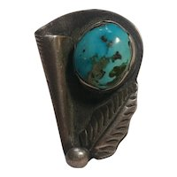 Louise  L Platero sterling silver turquoise ring Navajo