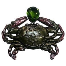 Sadie Green crab pin enamel stamped brass glass stone