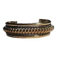 Tahe Navajo sterling 12K gf cuff bracelet coil