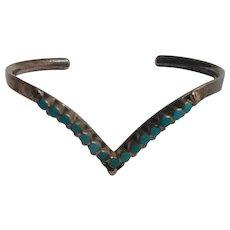 Southwest sterling silver turquoise snake eye cuff bracelet B.M.E.