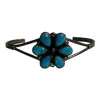 Southwest sterling silver turquoise flower head cuff bracelet