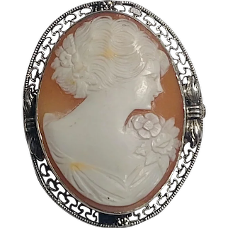 Sterling silver cameo pin carved shell filigree frame