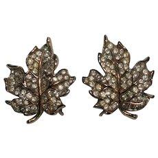 Trifari pave rhinestone maple leaf clip earrings