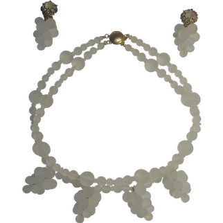 Mark Mercy Stanley Hagler M&M Designs  frosted glass cluster drops necklace earrings set
