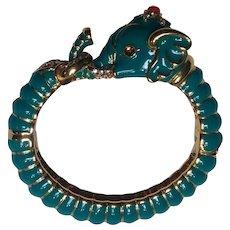 Kenneth Jay Lane KJL teal Raj elephant bangle bracelet hinged