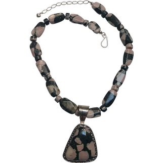 DTR Jay King Desert Rose Trading sterling silver stone necklace and pendant