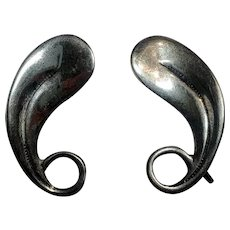 Beau sterling silver leaf or feather earrings screw back