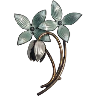Ivar Holth sterling silver enamel flower pin unusual  two colors aqua white