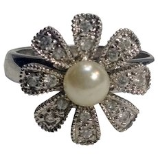Sterling silver rhinestone simulated pearl flower ring