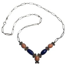 Shube Southwest sterling silver necklace coral lapis cabochon