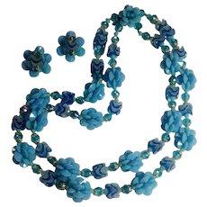 West Germany necklace clip earrings set blue plastic flower