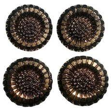 Molded glass flower head buttons copper luster finish