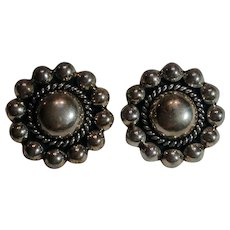 Sterling Mexico clip earrings dome center ball border