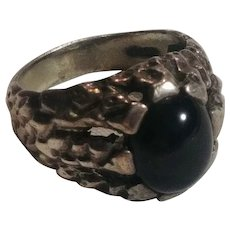 Sterling silver brutalist ring black cabochon stone size 10 1/4