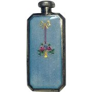 Foster Bailey sterling silver guilloche enamel perfume bottle flask