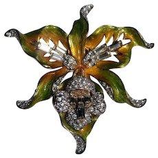 Nolan Miller exotic orchid pin crystal enamel