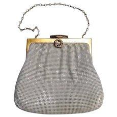 Whiting Davis white enamel mesh purse in original box ornate clasp