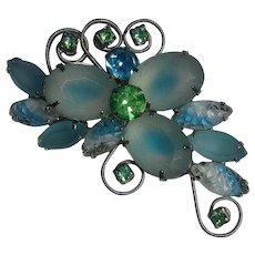 Rhinestone pin aqua molded and frosty  satin glass