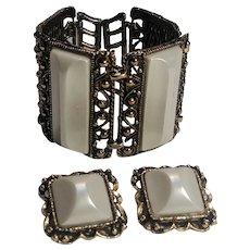 Chunky wide plastic insert bracelet clip earrings
