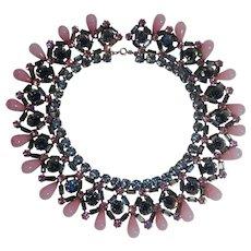 1950's Dior bib necklace crystal gripoix glass dangles