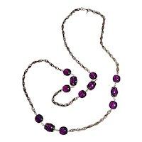 Trifari purple waterfall companion necklace Lucite