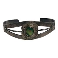 Southwest sterling silver turquoise cuff Fred Harvey