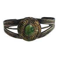 Fred Harvey era Navajo cuff bracelet turquoise concho  stamped designs