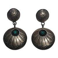 Southwest sterling silver turquoise shadow box drop earrings