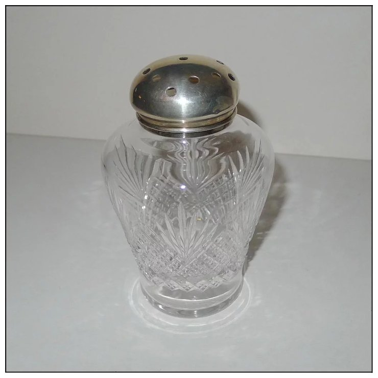 STERLING Top Cut Glass Muffineer [Sugar Shaker] Vintage : The Frame ...