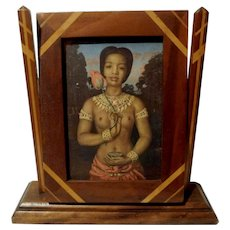 Inlaid Wood Arts and Crafts FOLK ART Swivel Picture Frame