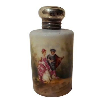 Porcelain Hand-Painted Perfume Sterling Top  19th C.