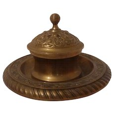 AESTHETIC Movement 19th C. Brass Inkwell