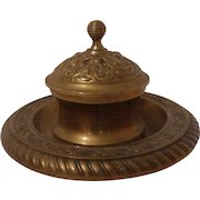 AESTHETIC Movement Brass Inkwell 19th C.