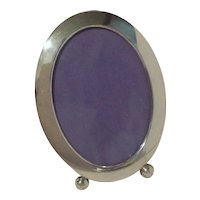 """Oval Sterling Picture  Art Deco Frame 6 3/4"""" Tall"""