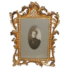 Victorian Rococo Gold-Plated Iron Cabinet Card Frame